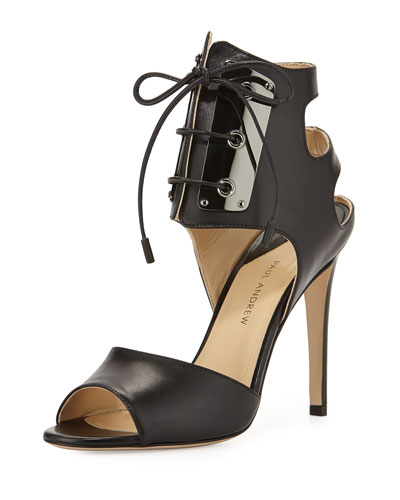 Leather Lace-Front Sandal, Black