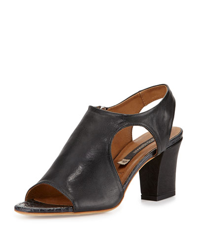 Merone Cutout Leather Sandal, Dark Gray