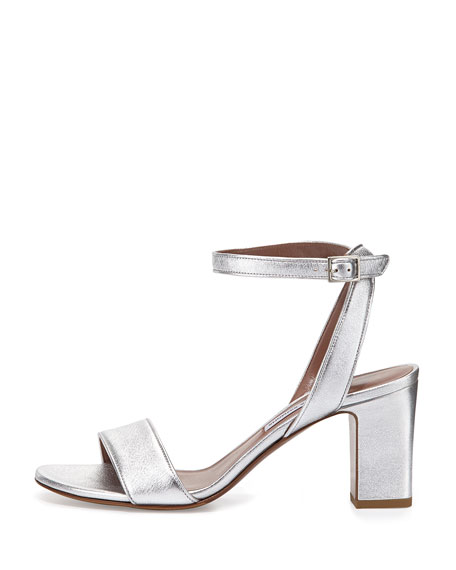 Leticia Metallic Ankle-Wrap Sandal, Silver