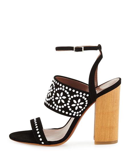 Tabitha Simmons Embellished Velvet Sandals oyqRNhKPiF