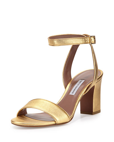 Leticia Metallic Ankle-Wrap Sandal, Gold