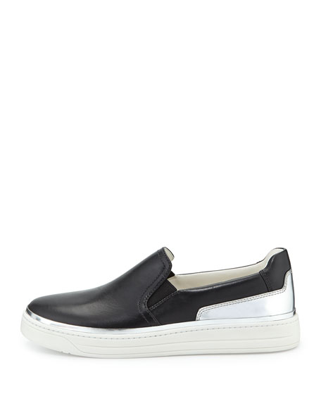 Slip-On Leather Sneaker, Nero/Argento
