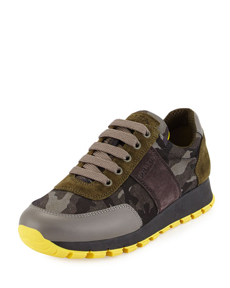 Prada Camouflage Tech Lace-Up Sneaker, Smoke (Fumo)