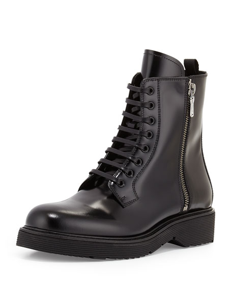 Prada Combat Lace-Up Boot, Black (Nero)