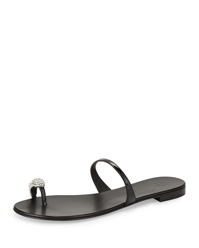 Crystal Toe-Ring Sandal, Nero