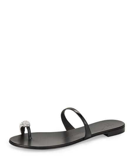 Crystal Toe-Ring Sandal, Nero