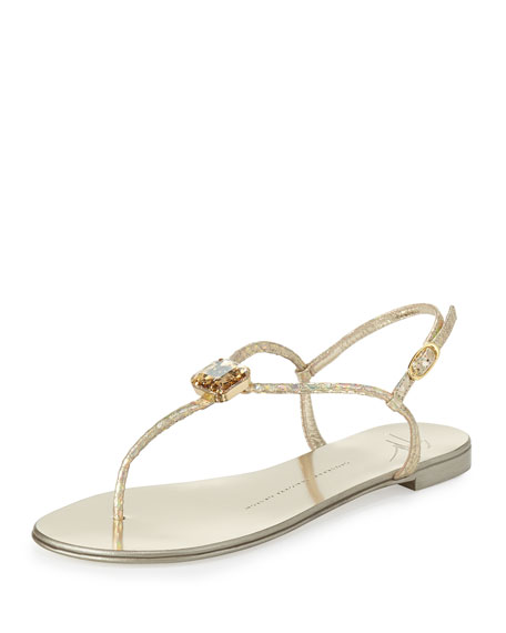Metallic Snake-Embossed Flat Sandals, Platino