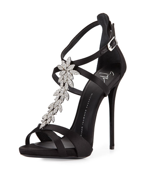 Jewel-Embellished Silk Evening Sandal, Black