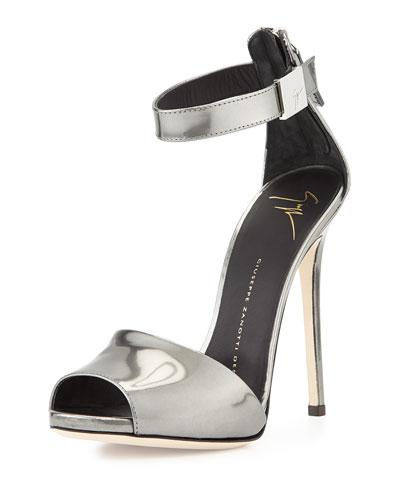 Metallic Ankle-Strap Sandal, Silver