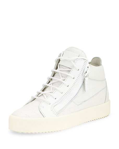 Croc-Embossed Low-Top Sneaker, White