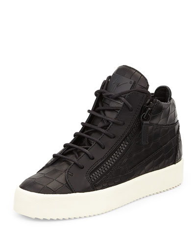 Croc-Embossed Low-Top Sneaker, Black