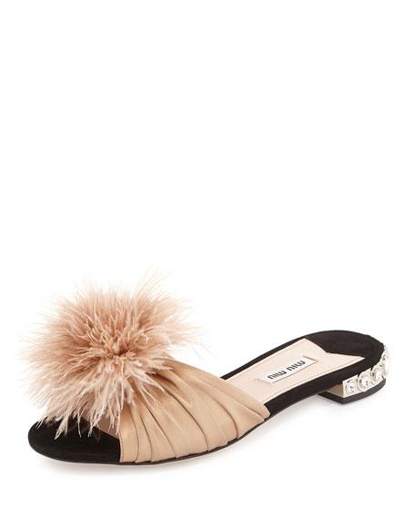 Miu Miu Fur Flat Sandals lHqkcTF9