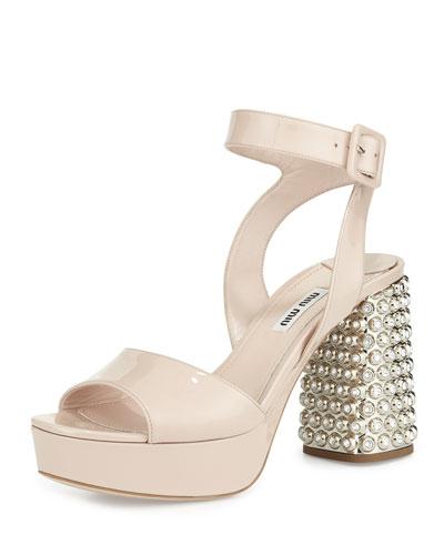 Patent Jewel-Heel Platform Sandal, Nude
