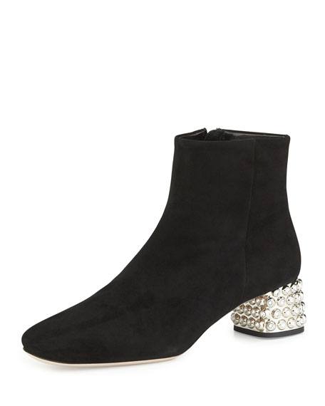 Suede Jewel-Heel Ankle Boot, Black
