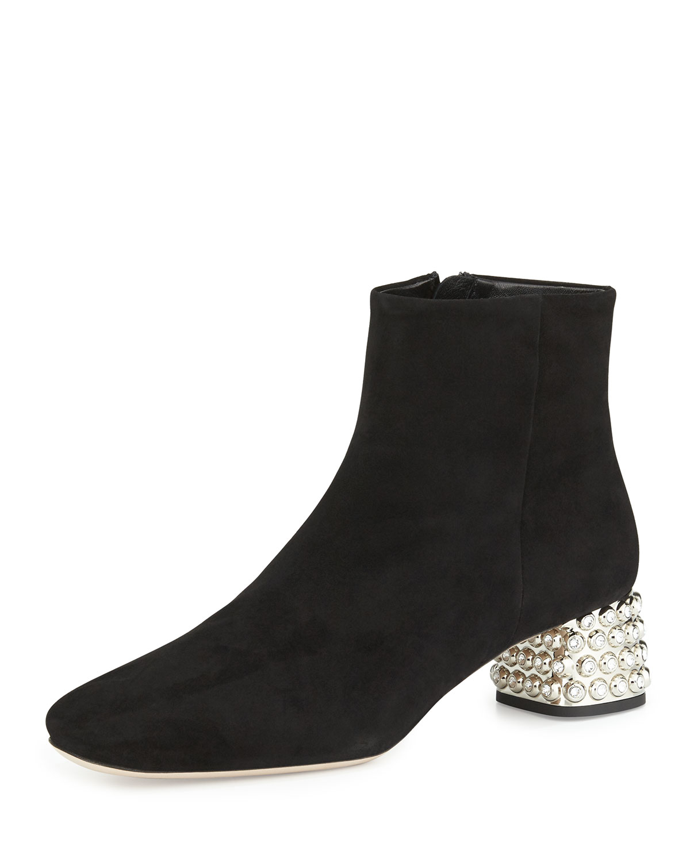 226a22162737 Miu Miu Suede Jewel-Heel Ankle Boot