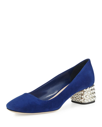 Decollete Suede Jewel-Heel Pump, Navy