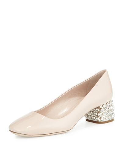 Decollete Patent Jewel-Heel Pump, Nude