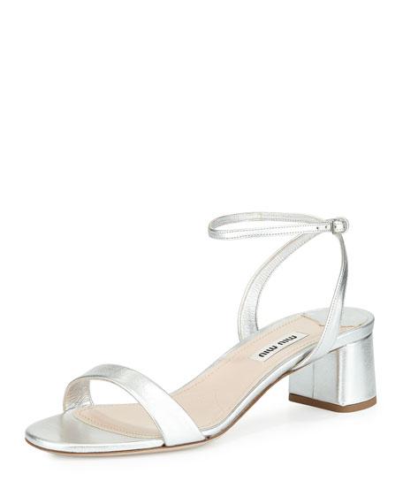 Miu Miu Metallic Block-Heel Sandal, Silver