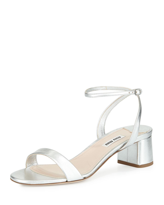 d2677ec32a6f94 Miu Miu Metallic Block-Heel Sandal