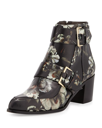 Floral-Printed Leather Boot, Multi
