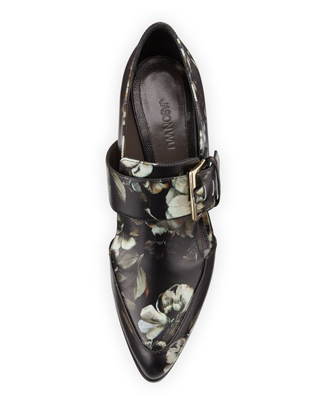 Floral-Printed Leather Buckle Pump, Multi