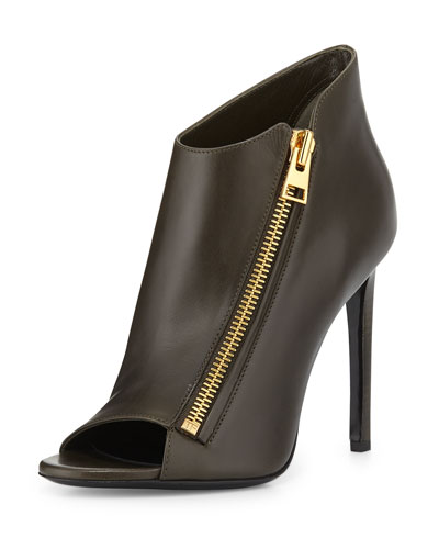 Open-Toe Zip-Front Leather Bootie, Musk