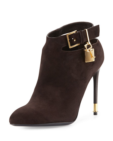 TOM FORD Suede Ankle-Strap Bootie, Dark Brown