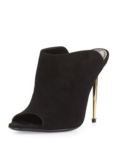 Leather Open-Toe Mule Pump, Black/Gold