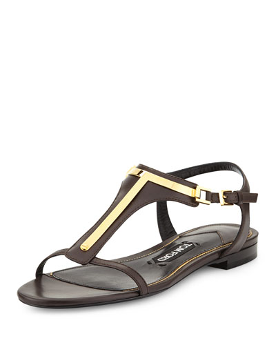 Leather T-Strap Sandal, Dark Brown