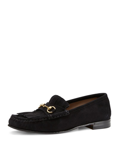 Fringed Suede Horsebit Loafer, Black (Nero)