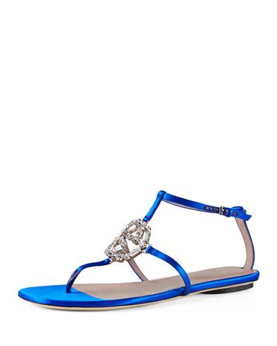 Satin Crystal GG Flat Sandal, Deep Sapphire (Zaffiro)