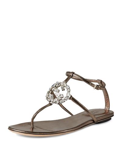 Crystal GG Thong Sandal, Stone (Sasso)