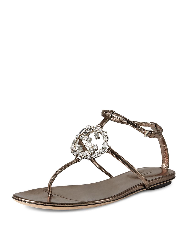 87d9fa78f9c Gucci Crystal GG Thong Sandal