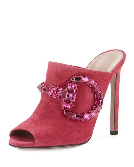 Gucci Suede Crystal-Horsebit Mule, Petunia
