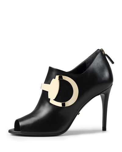 Leather Horsebit Peep-Toe Bootie, Black (Nero)