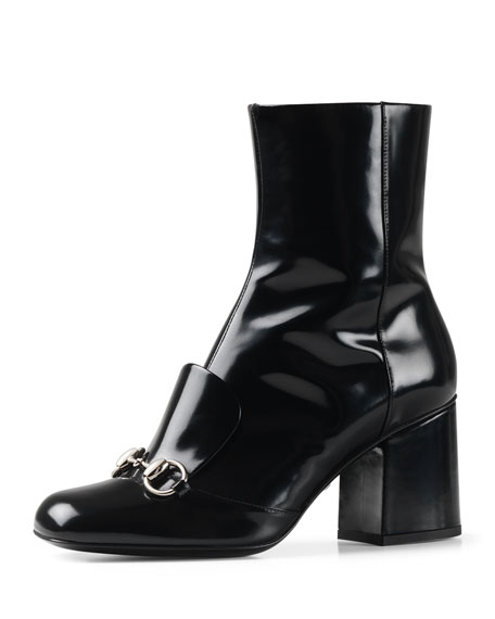Chunky-Heel Horsebit Boot, Black (Nero)