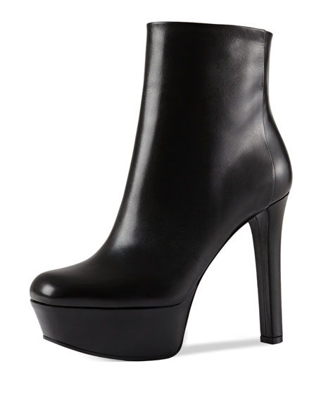 Platform Leather Ankle Boot, Black (Nero)