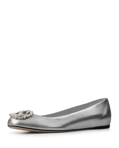 Crystal GG Leather Ballerina Flat, Silver (Argento)
