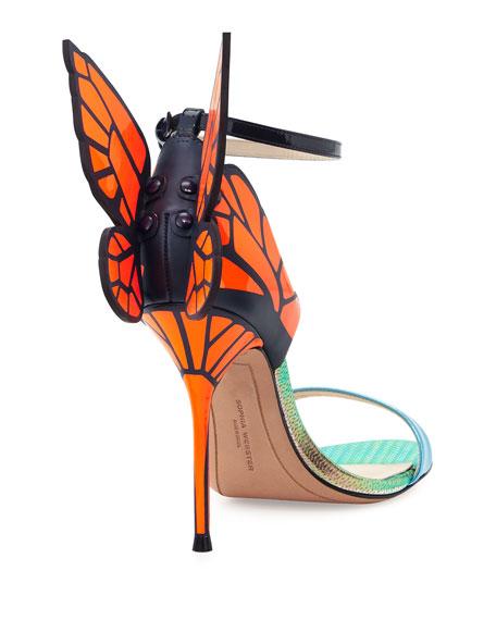 Chiara Butterfly Wing Sandal, Blue/Orange