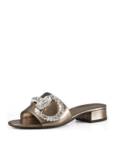 Crystal Horsebit Sandal Slide, Stone (Sasso)