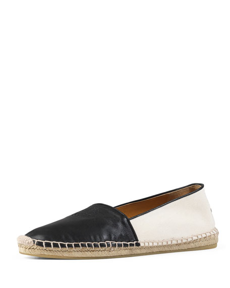 GucciGG Leather Espadrille Flat, Black (Nero)
