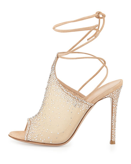 Etoile Crystal Lace-Up Sandal, Nude