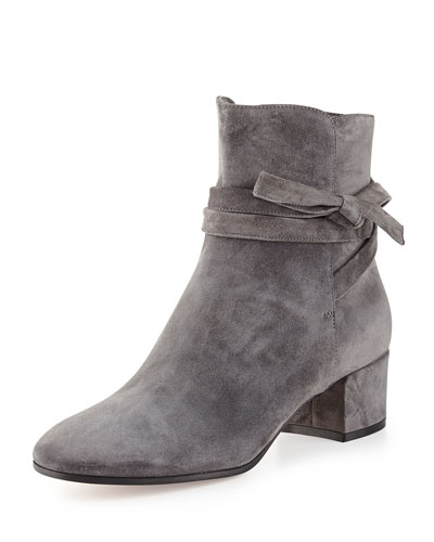 Suede Ankle-Tie Boot, Dark Gray
