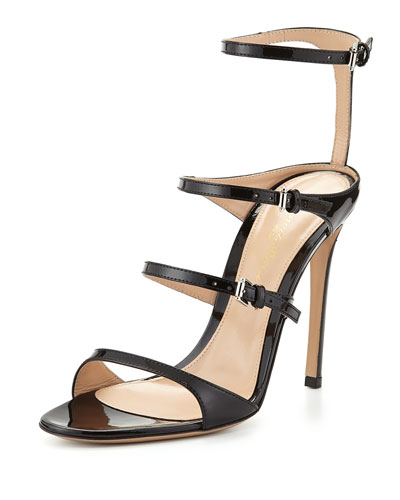 Four-Strap Patent Leather Sandal, Black