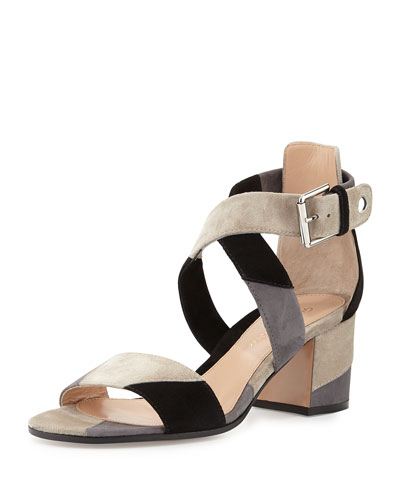 Tricolor Suede City Sandal, Lapis/Dust/Black