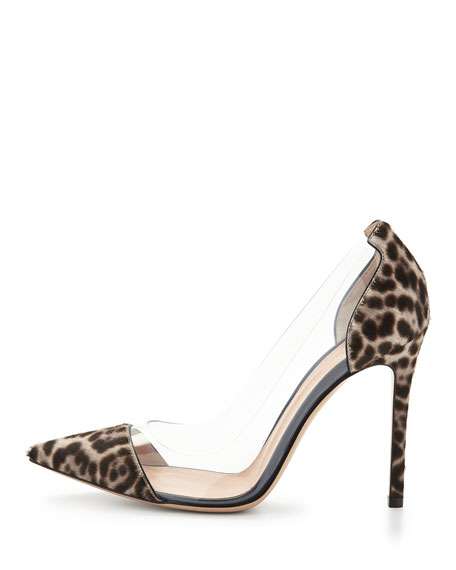 Calf-Hair & PVC Cap-Toe Pump, Lynx-Print