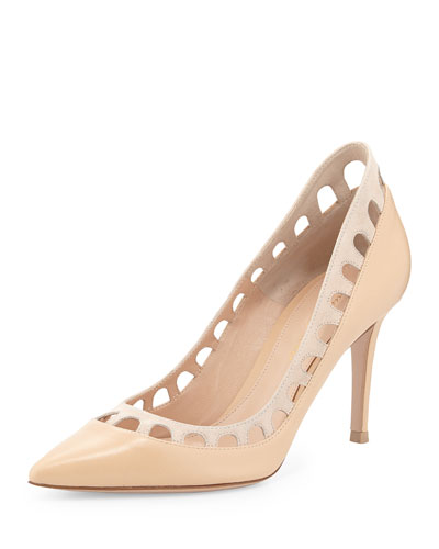 Suede Cutout-Collar Pump, Nude