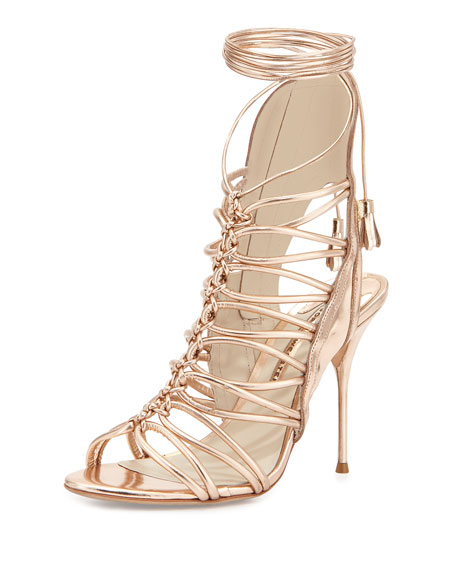 Sophia Webster Lacey Lace-Up Gladiator Sandal, Rose