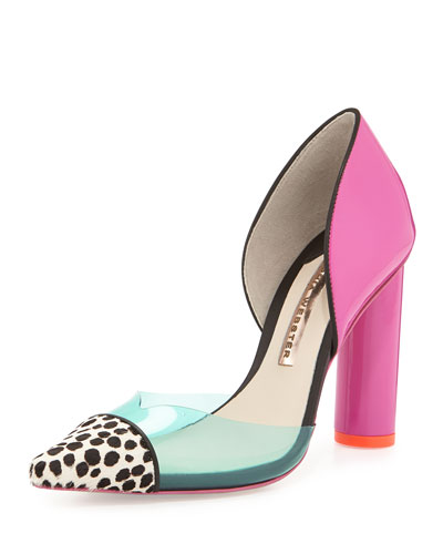 Jessica Colorblock Calf-Hair Pump, Plum