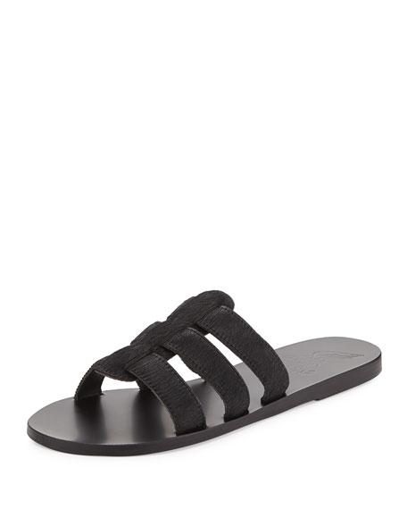 Ancient Greek Sandals Kavvadia Calf-Hair Sandal Slide, Black